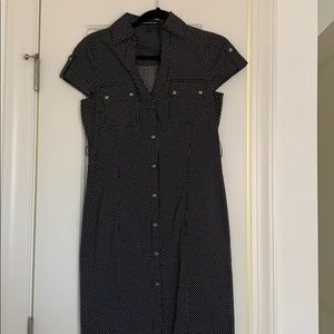 Express black & white polka dot button down dress
